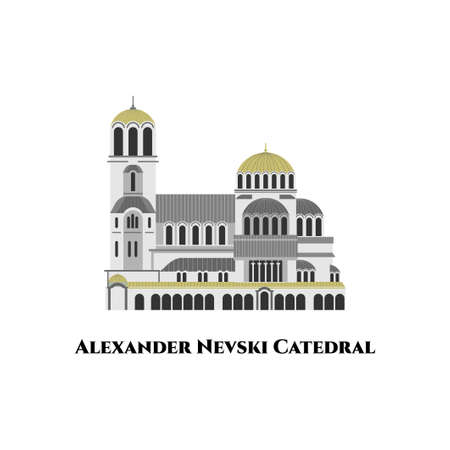 Alexander Nevsky Cathedral, Sofia, Bulgaria. The Most impressive place of the city. Heritage for the city and a real architectural jewel. Great destination for tourist vacation. Flat cartoon vector
