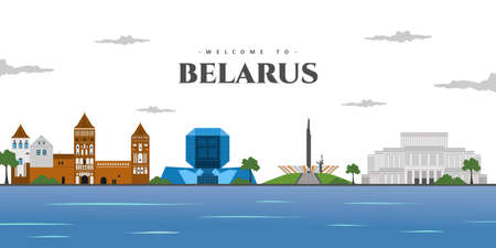 Beautiful city landscape of Belarus with world architectural landmark. Travel background. Background country buildings and place for tourist vacation. Colored vector design illustration.
