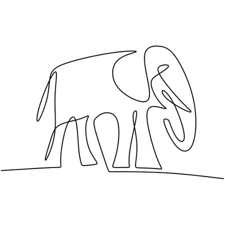 One continuous line drawing of elephant. A big animal African elephant is standing with baby elephant hand drawn picture silhouette. Wild animal national park conservation. Vector illustration Illusztráció
