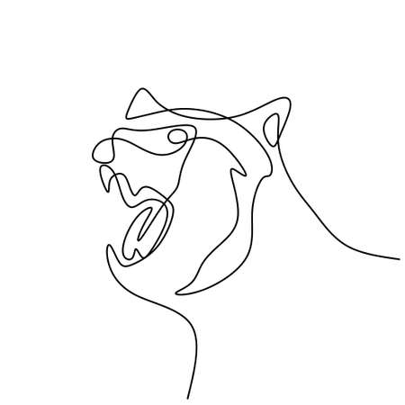 Bear's head continuous one line drawing. Danger big animal with angry expression isolated on white background. Fury bear head, snarling bear. Wild animal concept. Vector illustration Illusztráció