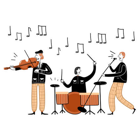 Jazz festival concert vector illustration. Cartoon flat musician characters band playing jazz music at live concert. Musician playing drum, violin. Having fun with music. Hobbies and profession