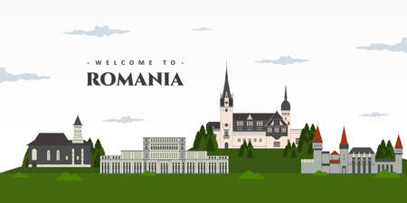 Panoramic view of Romania with famous building landmarks. Welcome to Romania postcard. Amazing place for tourist visit. Great destination for holiday. Travel to Romania. Vector illustration