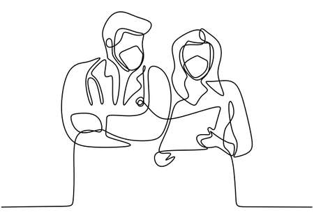 Continuous line drawing of two doctors wearing face mask discussing covid-19. Woman doctors talking with partner explain something with paper. Professional medical team fights coronavirus.