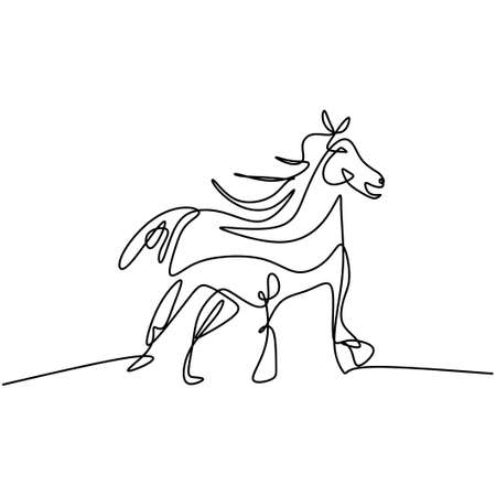 One line horse hand drawing art. Standing wild horse for logo, card, banner, poster, flyer isolated on white background. Elegance mammal animal minimalism design. Vector illustration