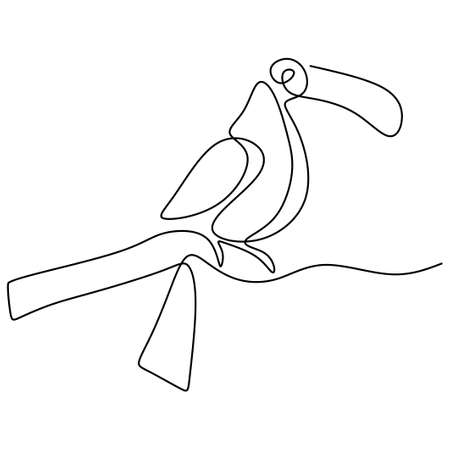 One continuous line drawing of cute toucan bird. A beautiful exotic bird with a peak isolated on white background. Endangered animal mascot concept for national conservation park icon.
