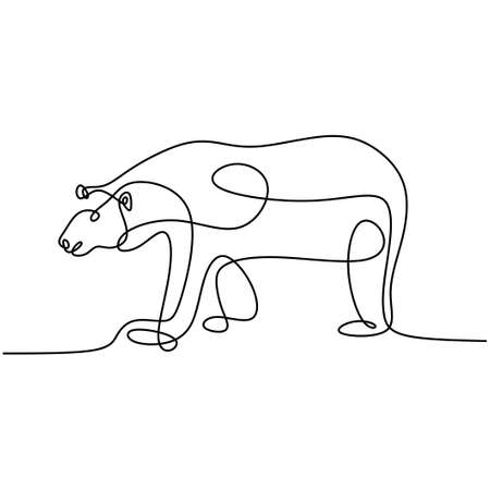 Continuous line drawing of bears. A giant bear walking forward in the jungle isolated on white background. Hand drawn single line minimalism design. Wild animals concept. Vector illustration