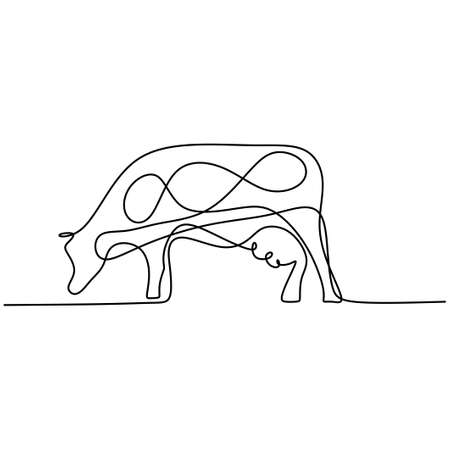 Cow continuous one line drawing. Sturdy standing cow for agriculture logo identity isolated on white background. Mammal animal mascot concept for farming icon. Minimalism design. Vector illustration Illusztráció
