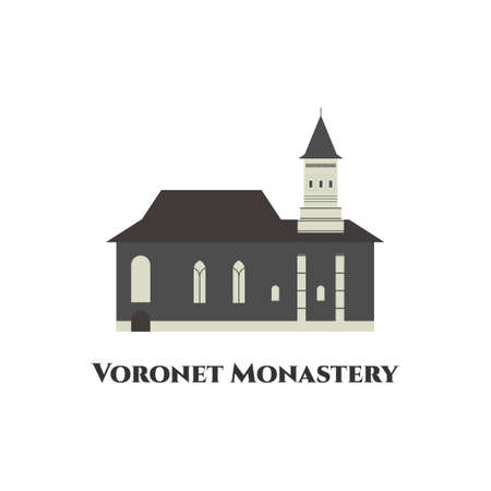The VoroneÈ› Monastery. A medieval monastery in the Romanian. The painted walls are very beautiful and well preserved. Great place and worth to visit it. Travel icon landmarks in Romanian.
