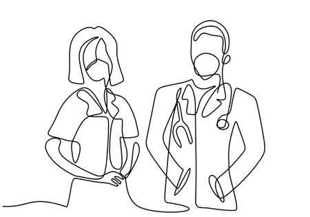 One single line drawing of professional doctor and nurse in face mask standing posing together. Medical teamwork for against coronavirus isolated on white background. Minimalist style.