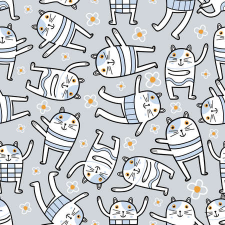 Funny cat in different yoga pose. Healthy cute animals cartoon character. Trendy fashion prints, animal stationery, feline friends gift wrapping, wallpaper. Vector seamless pattern