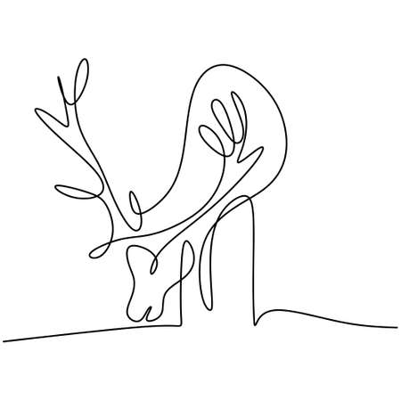 One line drawing of deer. A winter animal reindeer isolated on white background. Hand drawn single continuous line minimalism style. Deer mascot concept. Vector design illustration