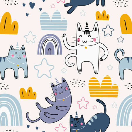 Cute cat seamless pattern with cute character. Funny animal cat with star, rainbow, clouds, love and plant. Vector image isolated on a white background. Print textile for children Illusztráció