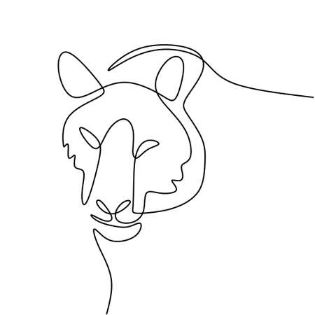 Tiger one line drawing isolated on white background. Wild animal tiger is walking in the jungle. Wild life concept. Minimalist contour animal design. Vector sketch illustration