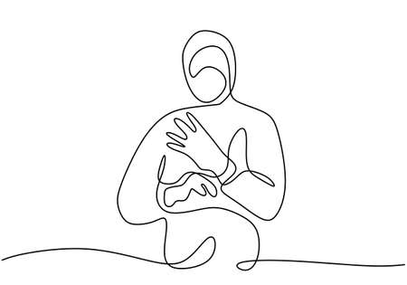One line drawing art of medical staff wearing protective suit and putting on protective gloves isolated on white background. Protection from disease, flu, air pollution, pandemic, virus