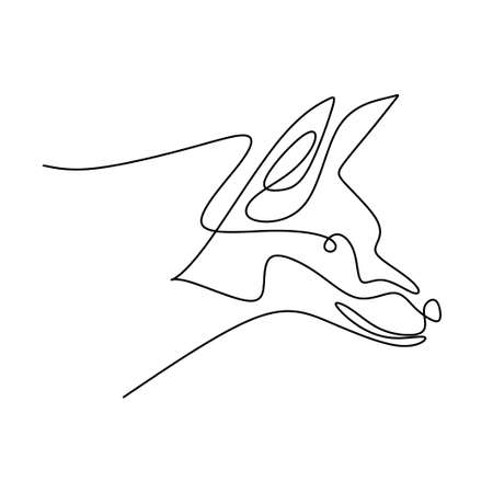 Continuous line drawing of mysterious wolf. Strong fox dog is standing with fury expression. Danger animal hand drawn line art on white background minimalism design. Vector illustration
