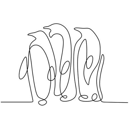 Continuous one line drawing of penguin isolated on white background. Three penguins are standing nearby. Hand drawn minimalism style. Penguins family. Wildlife animal concept. Vector illustration Illusztráció