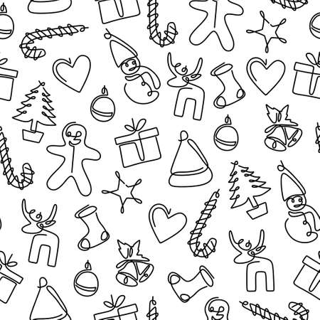 One continuous line drawing of christmas party. Seamless winter pattern. Christmas background, seamless tiling, great choice for wrapping paper pattern. Merry Christmas and Happy New Year concept