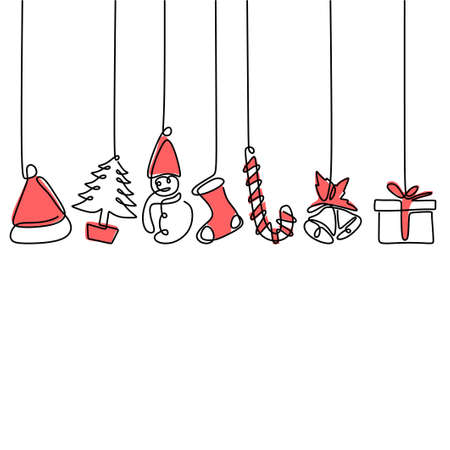 Continuous line hanging christmas tree, gift box, star, love, christmas hat and sock. Merry Christmas and Happy New Year theme isolated on white background. Hand-drawn line art minimalism design