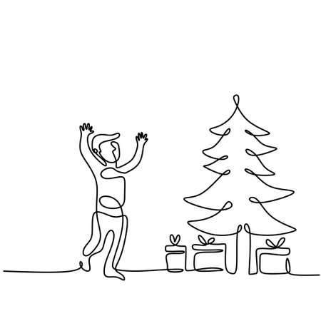 Standing boy with christmas tree and gift box continuous one ling drawing. Happy little kids in celebration christmas isolated on white background. Merry Christmas and Happy New Year concept Illusztráció