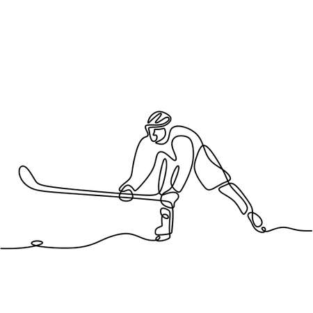 One continuous line drawing of professional ice hockey player hit the puck and attack on ice rink arena isolated on white background. Young sporty man in action to play a competitive game Illusztráció