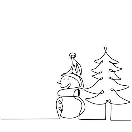 Continuous line vector illustration drawing of Snowman, christmas tree and gift box isolated on white background. The concept of Christmas hand-draw line art design minimalist style