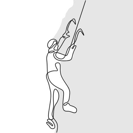 Continuous one line drawing of a male mountain climber going up snowy slope with axes against clouds isolated on white background. Extreme winter sport concept. Mountain climber. Minimalism design Illusztráció