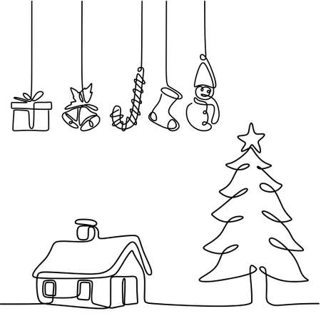 One line christmas tree with hanging decoration gift box, star, bell, and sock. Christmas party in winter season. Merry christmas theme hand-drawn line art isolated on white background Vettoriali