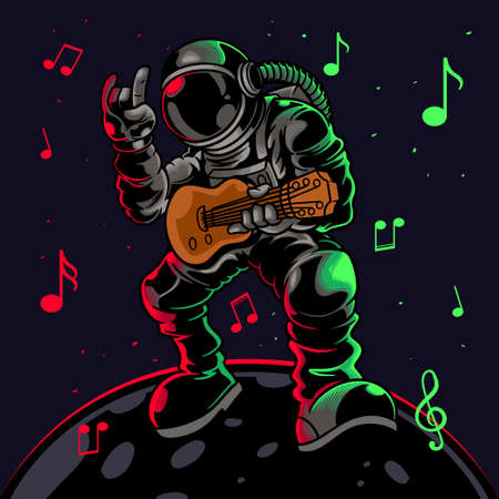 Astronaut playing guitar with metal symbol hand gesture. Cool dude astronauts spaceman play astro rock on electric guitar on a planet. Vector illustration for t-shirt prints, posters and other uses.