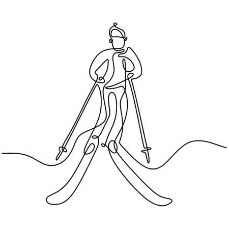 Single continuous line drawing of young sporty man playing ski at snowy mountain. Winter sport holiday vacation isolated on white background. Professional skiing hand-drawn sketch minimalism design