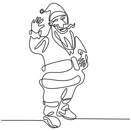Continuous single line santa claus drawn by hand picture silhouette. Happy santa standing pose and waving hand. Christmas Santa Claus. Concept line art holiday for Christmas and New Year.