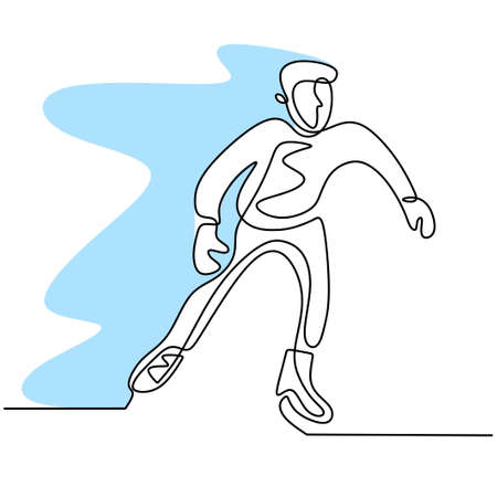 Continuous line drawing of skating man. Young male playing ice skating on ice rink arena isolated on white background. Fun winter sport concept hand drawn sketch minimalism style. Vector illustration Illusztráció