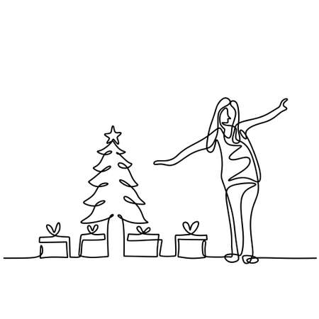 A beautiful little girl with a decorated Christmas tree, with gifts one line drawing isolated on white background. Happy woman standing pose and show her gift box. Merry Christmas and Happy New Year Illusztráció