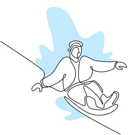 Continuous one line drawing of professional young snowboarder man ride fast snowboard at snowy mountain. Extreme sport winter concept. Minimalism design. Vector sketch illustration