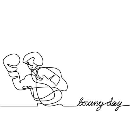 One single line drawing of young energetic man boxer practicing punch action. Boxer or fighter make a beat punch with hand. Modern continuous line draw design for boxing championship banner 矢量图像