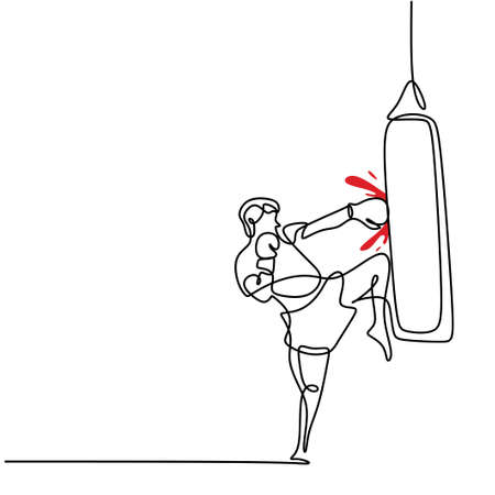 One single line drawing of young energetic man boxer practicing punch and kick action. Boxer or fighter make a beat punch and kick. Modern continuous line draw design for boxing championship banner 矢量图像