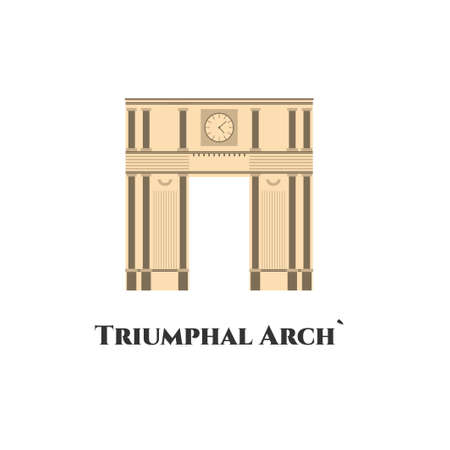 Triumphal Arch. Moldova country design template. Travel landmark icon in flat style depicting exterior facade of the famous historical memorial of France and Paris. Vector illustration