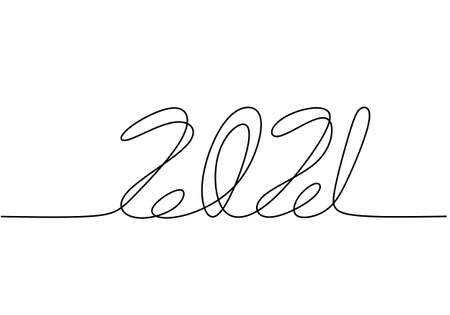 Continuous one line drawing of a new year 2021. Chinese New year of the bull handwritten lettering. Celebration New Year concept isolated on white background. Vector sketch illustration Иллюстрация
