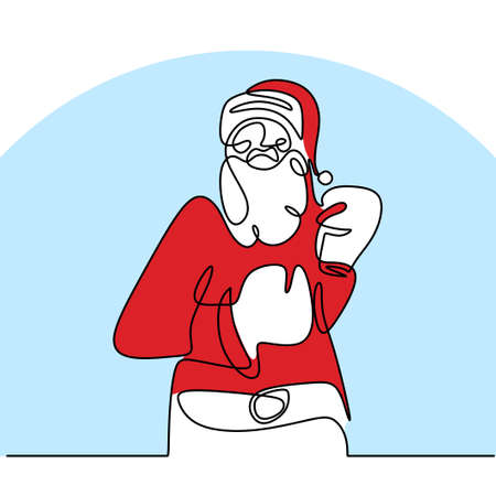 Santa claus with boxing glove continuous one line drawing. Christmas santa claus pose boxer man with a muscular body isolated on white background. Concept line art boxing for Christmas and New Year.