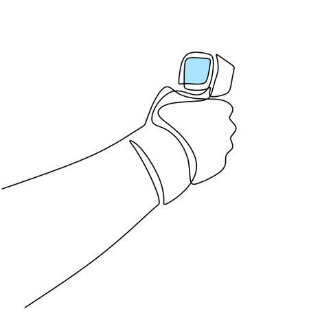 One line drawing of hand's medical staff check body temperature isolated on white background. Visitors must go through fever measures using infrared digital. Vector Illustration COVID-19 symbol. Иллюстрация