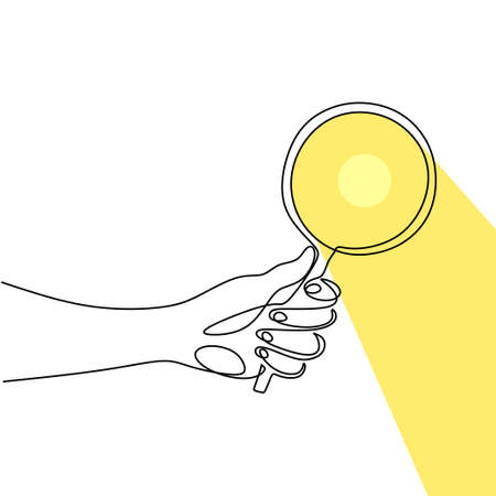 Hand holding magnifying glass one line drawing vector illustration continuous single hand drawn. Magnifying glass with reflected sunlight. The concept of theory of science with minimalist design Иллюстрация