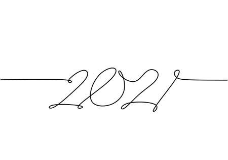 2021 of a New Year continuous line drawing isolated on white background. Celebration for the coming new year hand-drawn line art minimalism design. New year, new life, new world. Vector illustration