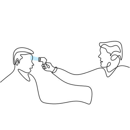 One line drawing of medical staff check body temperature at a man isolated on white background. Visitors must go through fever measures using infrared digital. Vector Illustration COVID-19 symbol. Vektoros illusztráció