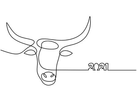 Bull continuous one line drawing. Symbol of the 2021 new year. The concept of strength, confidence and reliability isolated on white background. Happy ox Year simple minimalism design Vettoriali