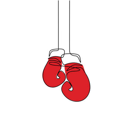 One continuous line drawing of boxing glove. Fitness stuff vector single one line isolated on white background. Hand-draw design for boxing championship banner. Minimalism design. Boxing club concept