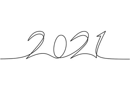 2021 New Year design in continuous line art drawing style minimalist black linear sketch isolated on white background. Year of the bull. Happy New Year concept. Vector design illustration
