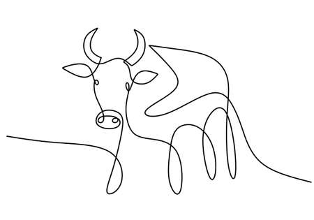 Continuous drawing of a bull symbol of 2021. Year of the Ox drawn in a modern minimalist style isolated on white background. Abstract ox, bull, cow. Happy new year 2021. Vector illustration Vettoriali