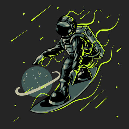 Space surfer astronaut vector illustration. Engraving cool dude on space surfboard surfing between stars planets galaxies. Good for design t-shirt prints, posters, apparel and other uses
