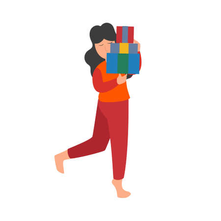 Young girl with a pile of gift box. Flat cartoon people characters with holiday scenes. Celebration Christmas, New Year concept isolated images on a white background. Vector illustration