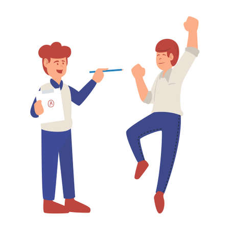 Happy jumping student. Cheerful young male student gets the best score in the class isolated image on white background. Flat cartoon vector illustration for lesson, education, teacher job concept
