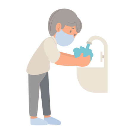 Flat cartoon design of young man washing hands with soap under running water to prevent virus and bacteria. COVID-19 prevention. Hygiene Concept. Vector illustration isolated on white background Иллюстрация